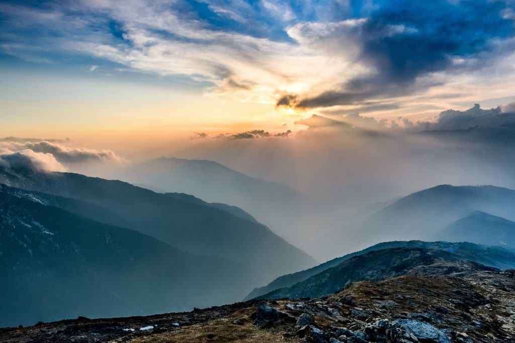 The sunset on the Annapurna Circuit trek in Nepal