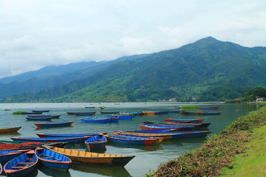 Lake Phewa by city of Pokhara