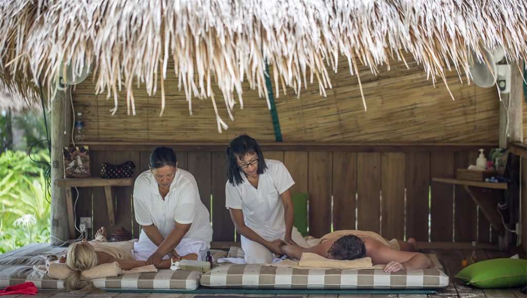 relaxing massage on private island
