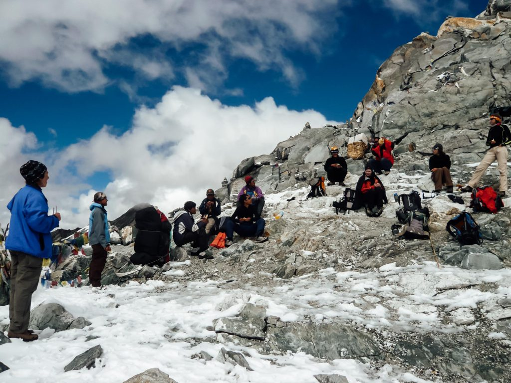 Trekkers stop to rest on the Everest Base Camp trek