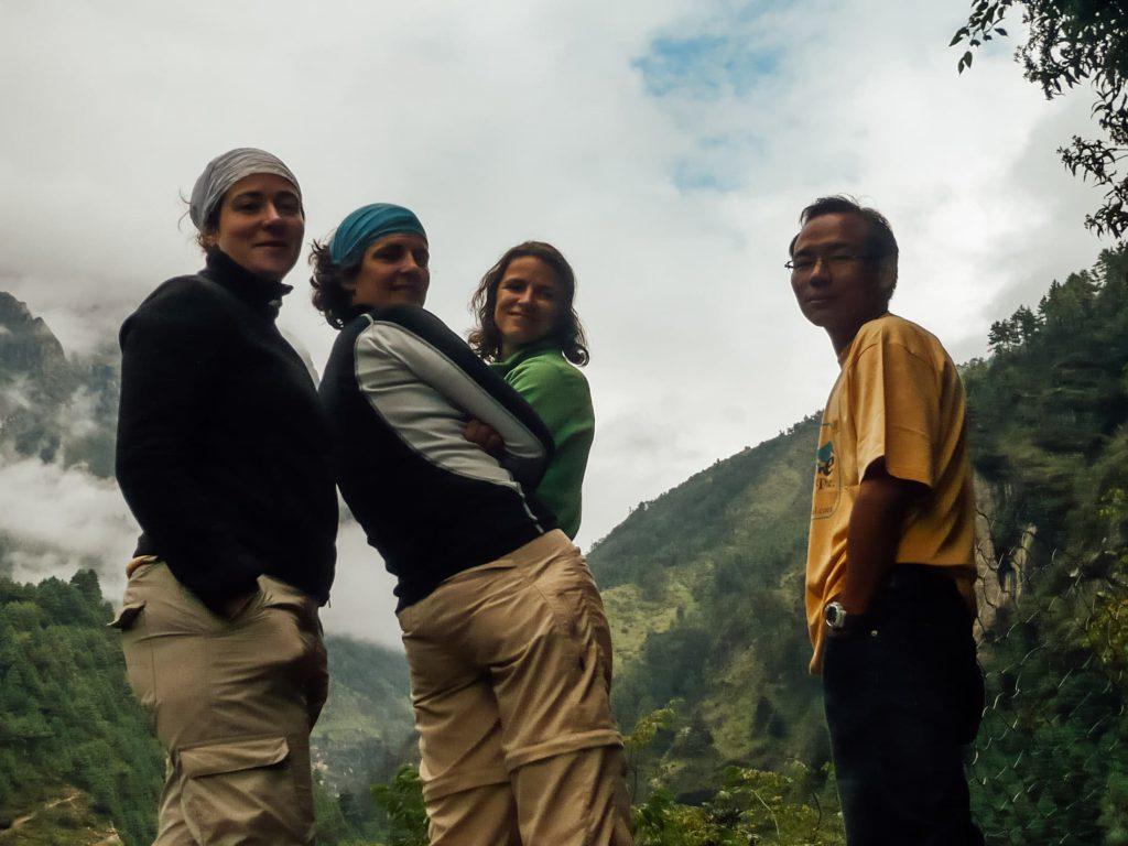 Everest Base Camp trekkers looking back