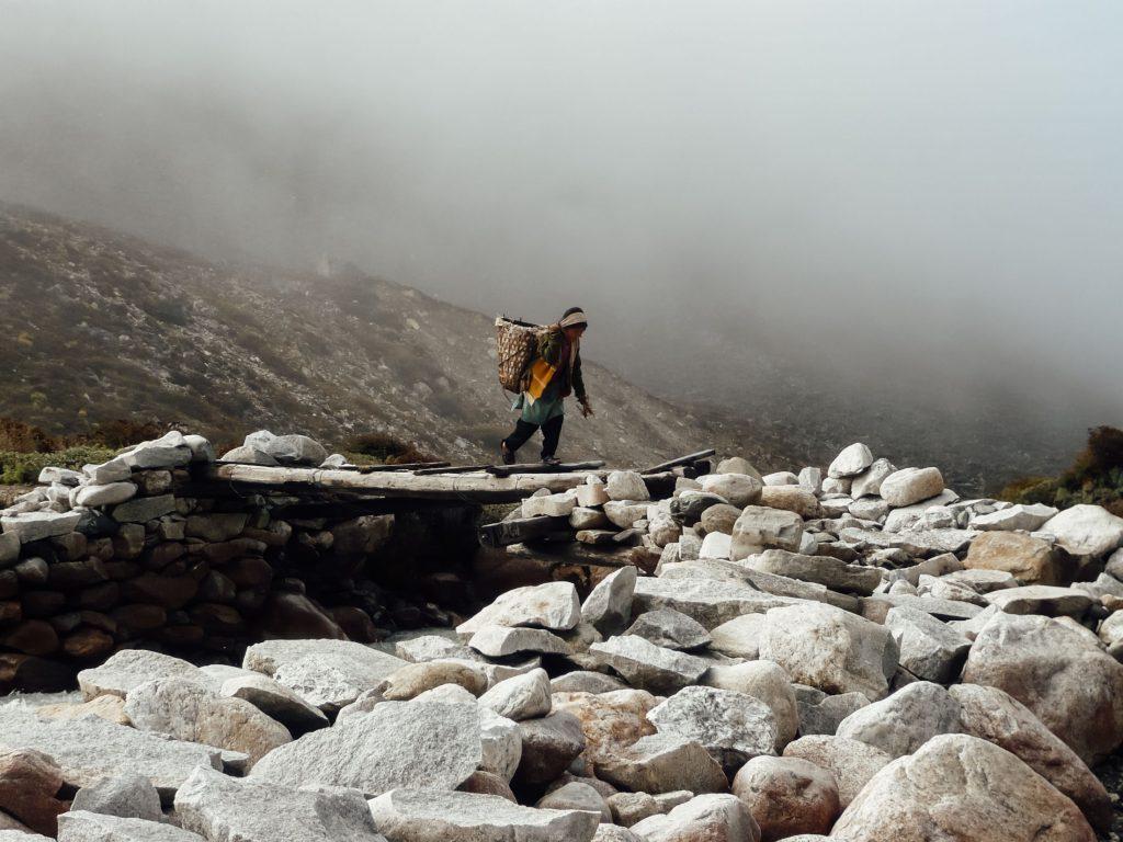 A Sherpa porter on the Everest Base Camp Trek