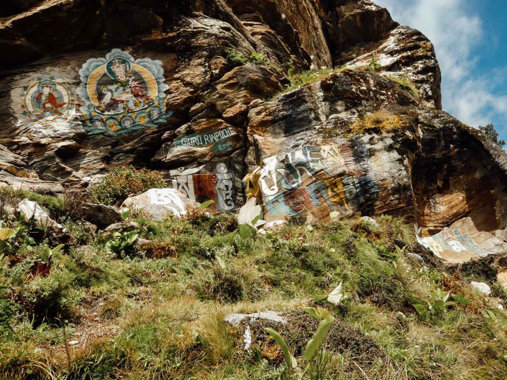 guru rinpoche wall drawings on Everest Base Camp trek