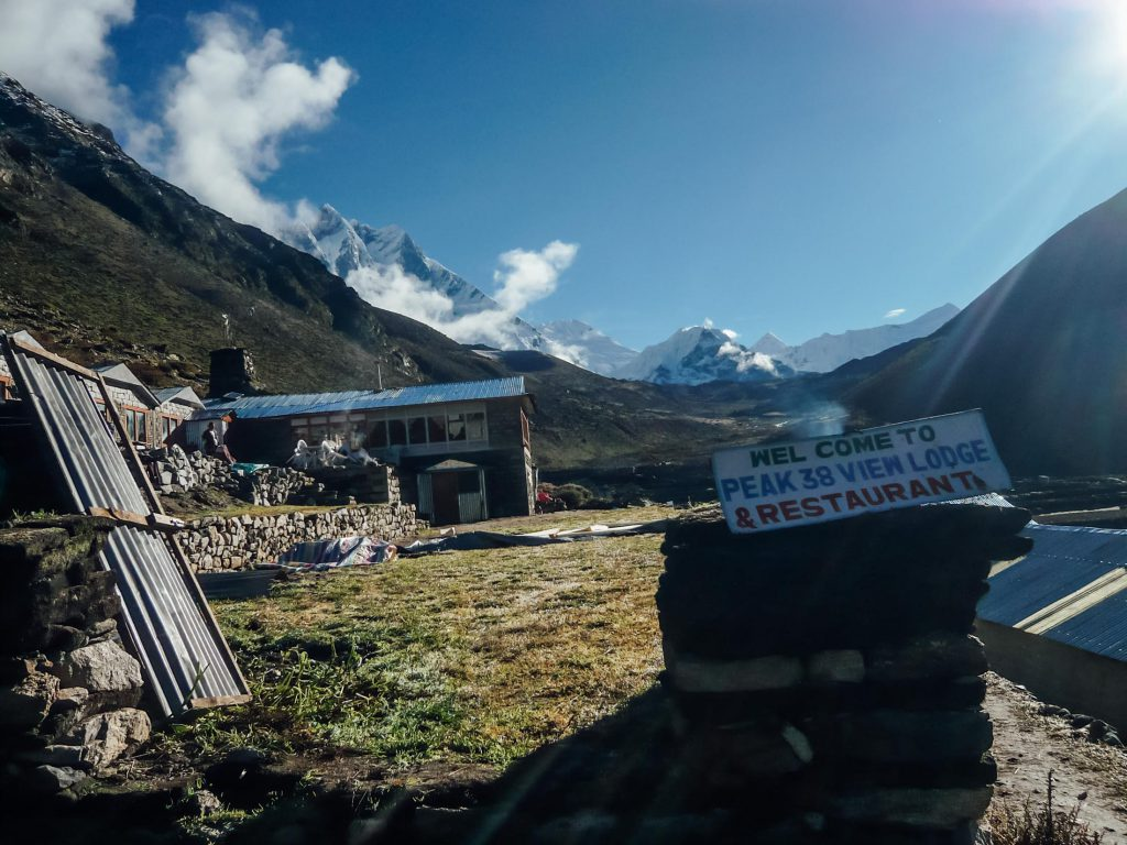 Lodge welcome sign in Dingboche