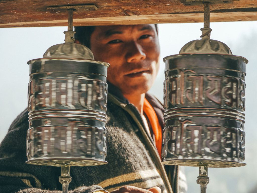 Tibetan Buddhist prayer wheels Upper Pisang Annapurna Circuit trek