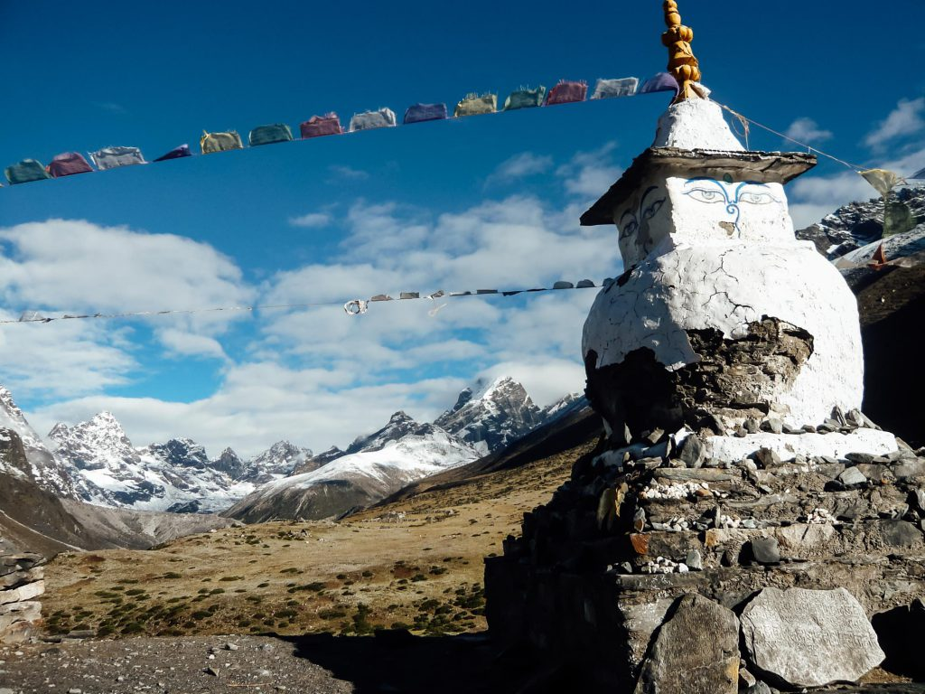 Gompa and prayer flags on the Everest Base Camp trek route
