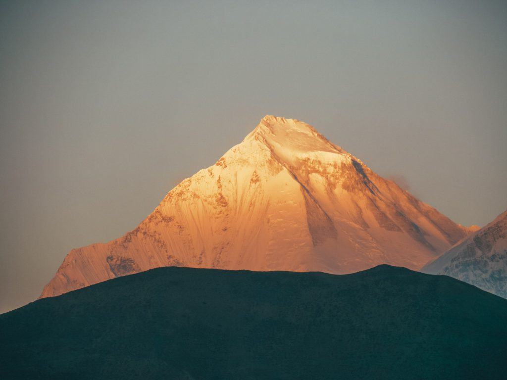 Mountain peak in sunlight