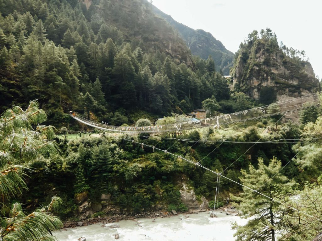 Suspension bridge Everest Base Camp trek adventure