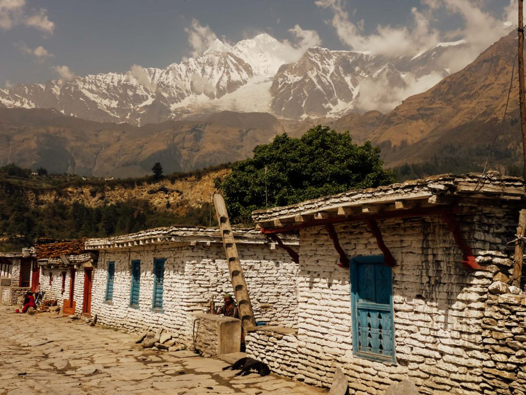 Stone and mud hut village at the base of Annapurna mountain ranges
