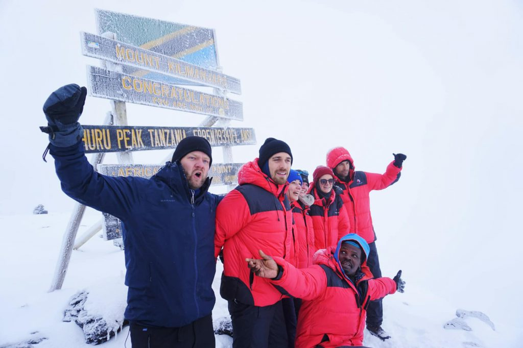 Group Celebrating Kilimanjaro Summit
