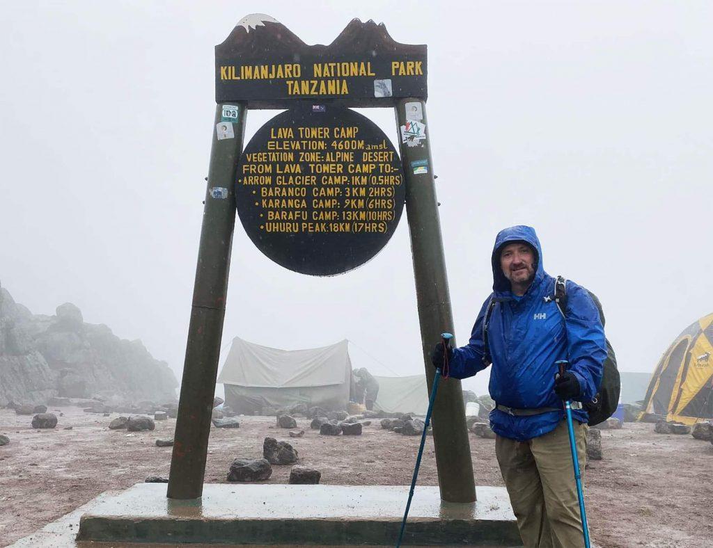 Man Standing Lava Tower Kilimanjaro Climb