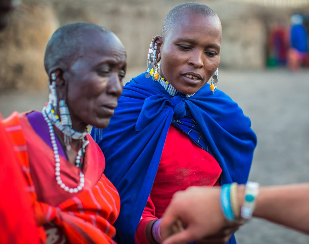 Maasai women in traditional dress
